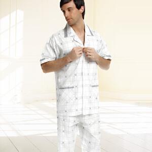 睡衣金丰田男士夏季棉质格子短袖睡衣家居服套装1584
