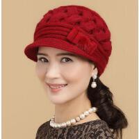 秋冬季中老年帽子 帽子女冬天韩版兔毛帽鸭舌贝雷帽 保暖针织毛线帽生日圣诞礼物