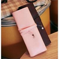 韩国版文具 清新樱花复古皮质卷笔袋 绑带式三层化妆收纳袋 带盒