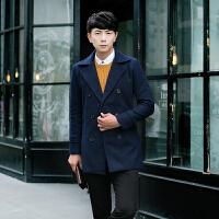 2015秋冬新款男士中长款风衣双排扣毛呢大衣韩版修身外套风衣
