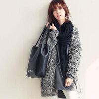 实拍 2015秋冬新款 宽松麻灰色 宽松针织衫毛衣外套 女 开衫
