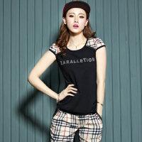 韩版修身时尚短袖女士运动套装运动服夏卫衣圆领格子运动装女夏装