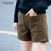【AMII超级大牌日】[极简主义]2016冬纯色羊毛呢双口袋开叉百搭大码短裤11581874