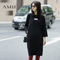 【AMII超级大牌日】[极简主义]2017年春撞色印花破洞多色宽松大码棉连衣裙