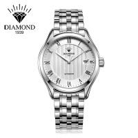 上海钻石牌手表男全自动机械男表大表盘日历精钢2100男士钻石手表