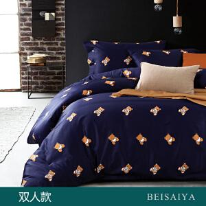 贝赛亚 高端60支贡缎长绒棉床品 双人印花床上用品四件套 维尼