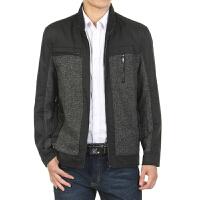 2016冬季新款男装毛呢中年男士外套 男式黑灰撞色沉稳夹克