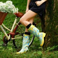 女士雨靴美丽帅气繁花女式雨鞋女士高筒雨靴