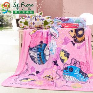 [当当自营]富安娜法兰绒保暖休闲多功能毯子 法兰绒毯 粉色 150*200