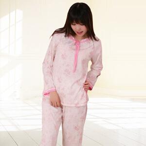 金丰田秋季粉红印花蝴蝶结女士长袖睡衣家居服套装1505