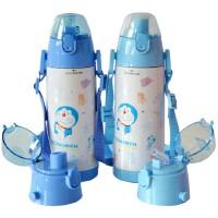 包邮!芭比 哆啦A梦 双盖保温杯 直饮+吸管两个杯盖 480ML儿童水壶 上学水杯