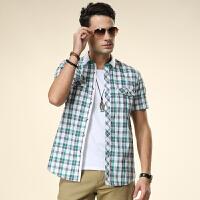 皇家骆驼男装夏季新款 男士纯棉格子短袖衬衫 商务休闲衬衫