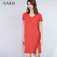 【AMII超级大牌日】[极简主义]2016夏新款大码圆领短袖拼流苏连衣裙性感开叉中裙