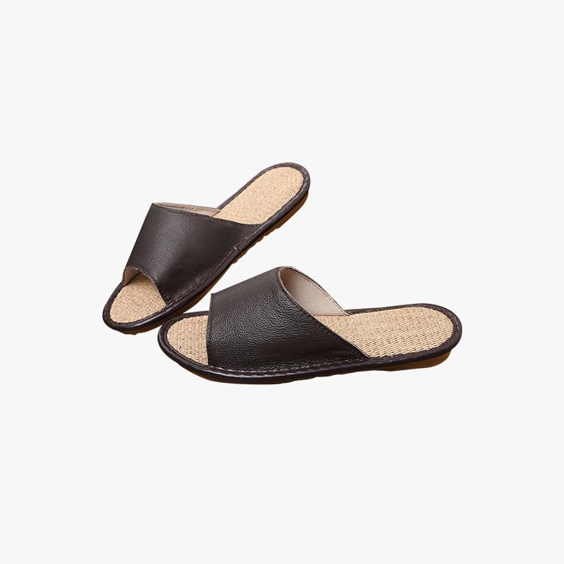 当当优品 真皮牛皮拖鞋 亚麻底 环保透气 防滑保护地板拖鞋 居家休闲 T1664B(多色可选)
