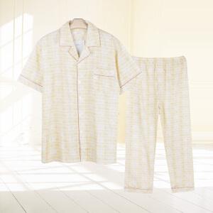 金丰田夏季男士短袖睡衣 棉质男式格子家居服睡衣套装1116