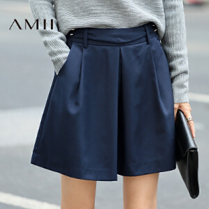 Amii[极简主义]2017年春季新款百搭个性腰头褶皱A字型短裙半身裙