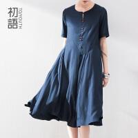 初语 冬季新款女装 中国风大裙摆纯色宽松连衣裙女842243