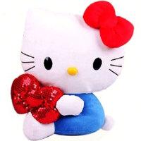 凯弘  创意礼品 蓝色凯蒂猫 抱亮片蝴蝶结 侧坐款公仔 40厘米