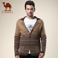 CAMEL 骆驼男装 新款翻领提花毛衣 开衫羊毛衫男毛衣外套