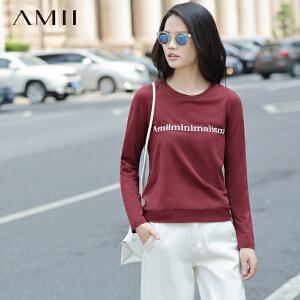 【AMII超级大牌日】[极简主义] 2017年春装新品立体印花套头长袖大码T恤女11642108