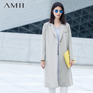 【AMII超级大牌日】[极简主义]2017年春女装翻领纯色外套单扣直筒长款大码西装