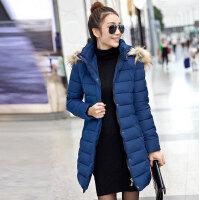 2015韩国大东门潮流简约款中长款超大乌苏里毛腰带修身版女士棉衣