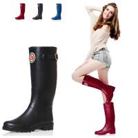 女士雨靴纯色优质环保全橡胶时尚高筒雨鞋水鞋套鞋