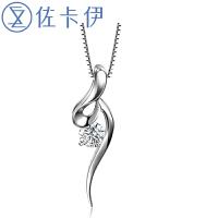 佐卡伊 优雅 白18k金钻石吊坠项坠项链女款 简约时尚珠宝送女友