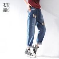 初语秋季新款 拼贴布仿古设计 中直筒擦白水洗牛仔裤419202039
