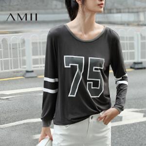 【AMII超级大牌日】[极简主义] 2017年春新款圆领数字印花休闲显瘦长袖T恤上衣女士