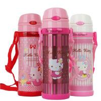 包邮  hello kitty 儿童吸管杯 500ML水杯保温杯软吸管水壶3647