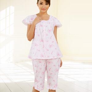 金丰田女士夏季短袖棉质五分裤家居服睡衣套装1276