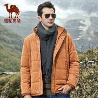 骆驼男装新款外套男士短款棉衣 商务休闲棉服 直筒外套