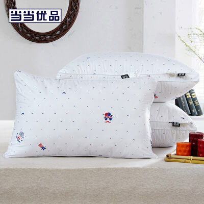 当当优品 低中高精梳棉立体羽丝绒枕头 中款1000g 48*74cm当当自营 100%纯棉印花面料 舒适透气 柔软亲肤