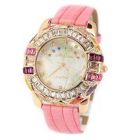 2017年新款 Melissa玛丽莎 璀璨水晶 鳄鱼皮纹表带 高贵典雅女士手表 玫红色