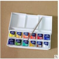 英国温莎牛顿cotman歌文固体水彩颜料套装/12色半块装/配金属画笔