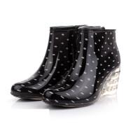 女士雨靴雨鞋女式雨鞋披跟短靴高跟雨鞋