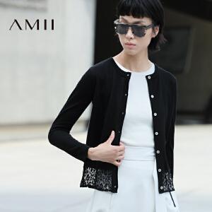 【AMII超级大牌日】[极简主义]2017年春季修身圆领蕾丝镂空薄款针织开衫女11672938