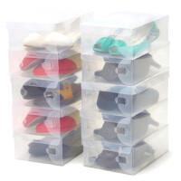 卡秀 10个装拉丝斜纹水晶透明鞋盒 优质男鞋盒