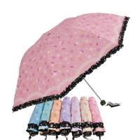 天堂伞 春日畅想 晴雨伞 三折黑胶防晒折叠遮阳伞 雨伞雨具 多色可选!晴雨两用 蝴蝶小花图案
