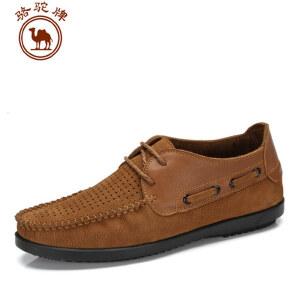 骆驼牌 春夏新款男鞋 头层牛皮日常休闲 耐磨透气鞋
