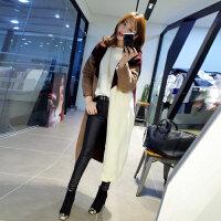 2016秋装韩版女装经典拼色中长版针织开衫女毛衣外套