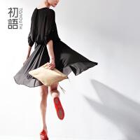 初语 冬装新款女装连衣裙修身气质圆领黑色显瘦雪纺连衣裙女冬 416301055