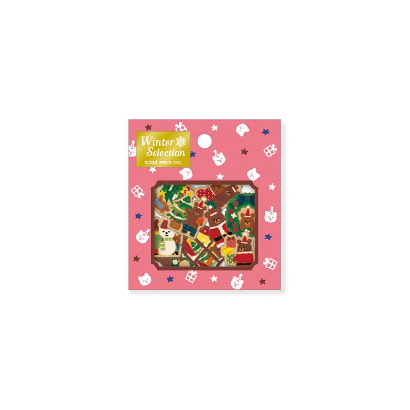可爱圣诞装饰贴纸卡通手帐日记贴纸包迷你小贴纸 70枚入_粉色圣诞熊