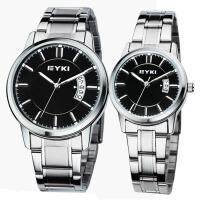 艾奇(EYKI)商务休闲情侣手表 时尚日历复古钢带石英手表 简约表盘情侣表 8616