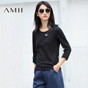 【AMII超级大牌日】[极简主义]2017年春季新款简约圆领纯色口袋长袖T恤女11643175