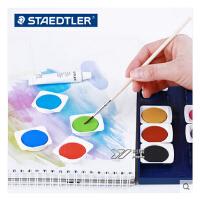 施德楼 STAEDTLER 888 NC12 12色固体水彩 送画笔调色盘+广告白