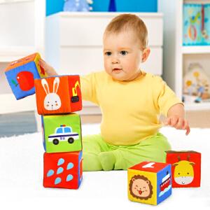 橙爱 奇趣森林6个装布质积木 带摇铃响纸益智玩具 婴儿布制套装礼盒