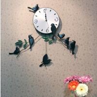红兔子 时尚可爱 家居装饰 雀鸣枝头铁艺挂钟 客厅挂钟 钟表 个性创意复古礼品钟表
