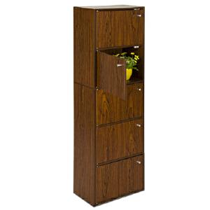 [当当自营]慧乐家 鲁比克五层组合带门柜11087 深红樱桃木色 书架书柜 收纳储物柜子 优品优质